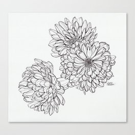 Ink Illustration of Summer Blooms Canvas Print