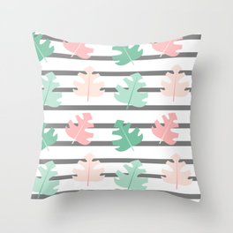 cute striped pattern with exotic leaves Throw Pillow