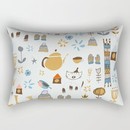hygge cat and bird gray Rectangular Pillow