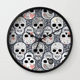 Celebracion de Gris_Sugar Skulls_Calaveras_Repeat_RobinPickens Wall Clock