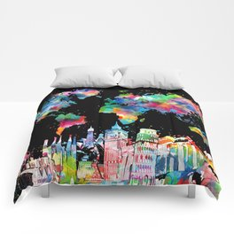 world map city skyline 3 Comforters