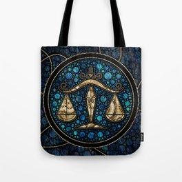 Libra Zodiac Dot Art Style Abalone Gold Tote Bag
