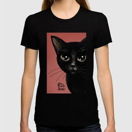 Black in red T-shirt