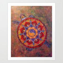 Autumn Turtle - yin yang mandala Art Print