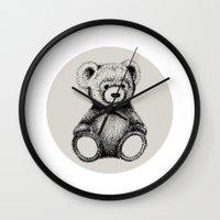 teddy bear Wall Clocks featuring Teddy Bear by Nicole Cioffe
