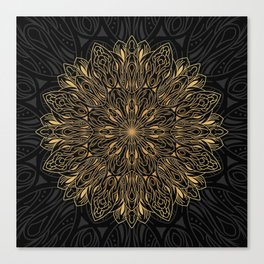 MANDALA IN BLACK AND GOLD Canvas Print