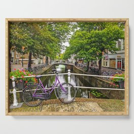 Bike on Canal Bridge (Delft, Netherlands) Serving Tray