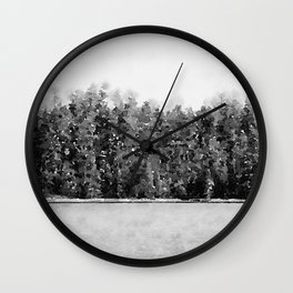 Black and White Forest Lake Nature Watercolor Gray Trees Scenic Painting Art Print Wall Decor  Wall Clock