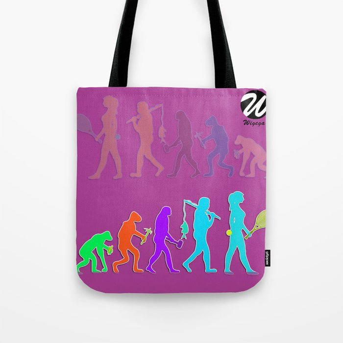 Woman Evolution of the Species to Tennis Player Tote Bag