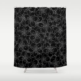 Cherry Blossom Black on White - In Memory of Mackenzie Shower Curtain