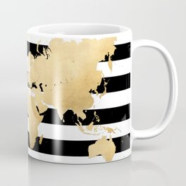Gold world map black and white stripes Coffee Mug