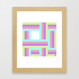 Colorful lines square pattern Framed Art Print