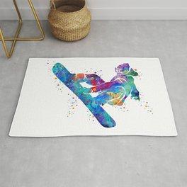 Girl Snowboarding 3 Colorful Watercolor Winter Artwork Rug