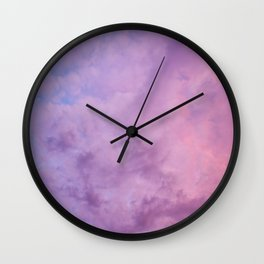 Amazing purple sunset sky with clouds Wall Clock