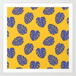 Monstera trendy - yellow purple Art Print