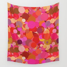 Fancy Dots Happy Pattern In Shades Of Pink, Red And Orange Wall Tapestry