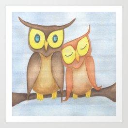 The Owl Lovers Art Print