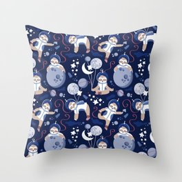 Best Space To Be // navy blue background indigo moons and cute astronauts sloths Throw Pillow