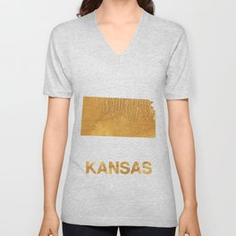 Kansas map outline Sandy brown clouded watercolor Unisex V-Neck
