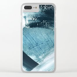 Pacific: a minimal abstract mixed media piece in blues and white Clear iPhone Case