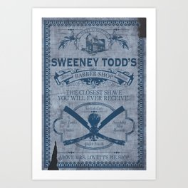 Sweeney Todd Barber Shop Advert Art Print