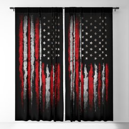 Red & white Grunge American flag Blackout Curtain