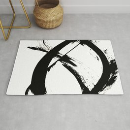 Brushstroke 7: a minimal, abstract, black and white piece Rug