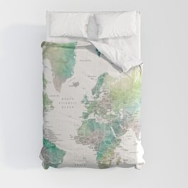 Watercolor world map in muted green and brown, with country capitals Comforters