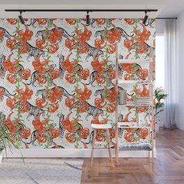 Tigers and Tiger Lilies (White Background) Wall Mural
