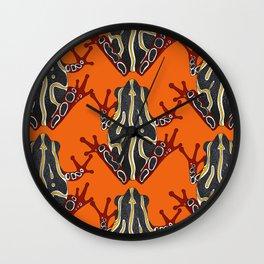 congo tree frog orange Wall Clock