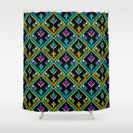 Abstract ethnic ornament. Black background . Shower Curtain