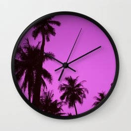 Tropical palm trees on blue pink Wall Clock