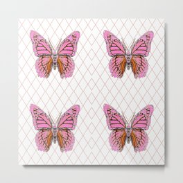 ABSTRACTED  PINK  BUTTERFLY MONARCHS  & WHITE PATTERN Metal Print