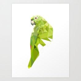 Green parrot Geometric Art Print