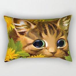 "Louis Wain's Cats ""Tabby in the Marigolds"" Rectangular Pillow"