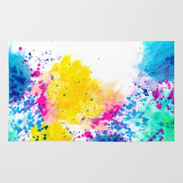 Blue Yellow Abstract Watercolor Neon Pink Splatter Rug