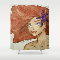 little mermaid Shower Curtains featuring Little Mermaid by Britt Barsczewski