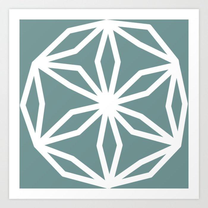 CUBIC FLOWER PATTERN - blue Art Print