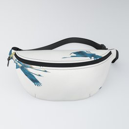 Beautiful Cranes in white background Fanny Pack