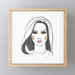 Asian woman with long hair. Abstract face. Fashion illustration Framed Mini Art Print
