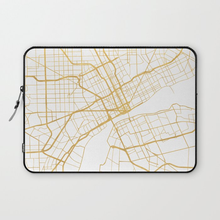 DETROIT MICHIGAN CITY STREET MAP ART Laptop Sleeve by deificusart ...