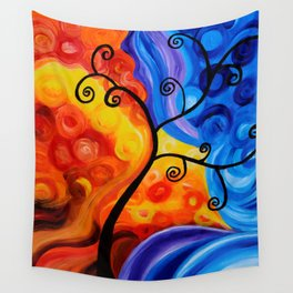Abstract Blue/Orange Wall Tapestry