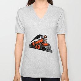 Steam Locomotive Speeding Mascot Unisex V-Neck