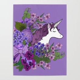 Unicorn in a Purple Garden Poster
