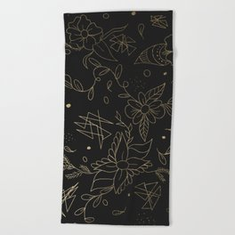 Gold foil floral pattern and geometric triangles on grey Beach Towel