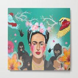 Frida Mural Painting Metal Print