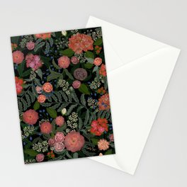 Moody Blooms Black Stationery Cards