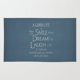Smile,Dream,Laugh - Inspirational quote Rug