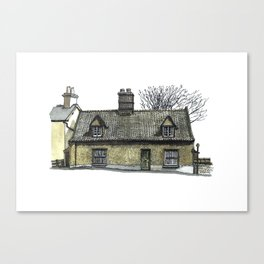 English Pebble-dashed Cottage Canvas Print