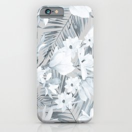 Black gray white magnolia tropical floral pattern iPhone Case